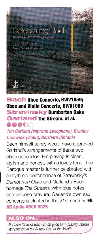 ABCD5025 CELEBRATING BACH Northern Sinfonia - Bradley Creswick, Tim Garland - Classic FM Magazine Review
